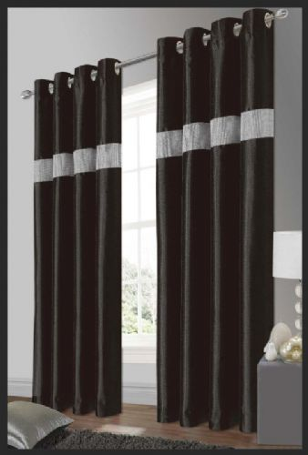 STYLISH ELEGANT DIAMANTE FAUX SILK RINGTOP EYELET FULLY LINED CURTAINS BLACK & SILVER COLOUR